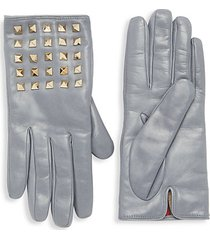 smooth leather studded gloves