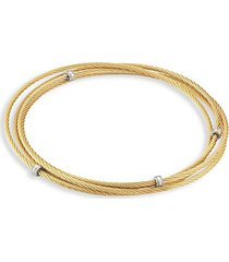goldplated stainless steel triple wrap cable bracelet