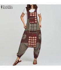 zanzea de las mujeres sin mangas del lunar de gran tamaño anchas piernas del mono del mameluco del traje de trabajo -rojo