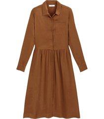 halvlång skjortklänning med lång ärm