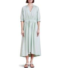 women's apiece apart cobano organic cotton high low midi dress, size x-large - green