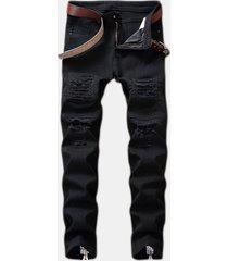 casual strappato zipper elegante hip-pop jeans per uomo
