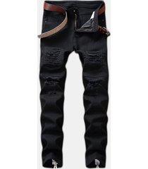 cerniera strappata casual elegante hip-pop jeans per uomo