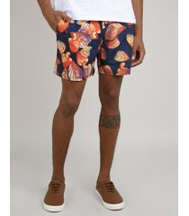 short masculino estampado de caju com bolso azul marinho