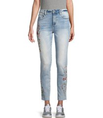 driftwood women's jackie floral embroidered raw-edge skinny jeans - light wash - size 25 (2)