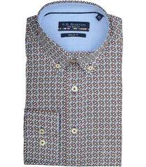 bos bright blue blue print overhemd 927670/333 bordeaux