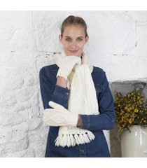 merino wool aran mittens cream small