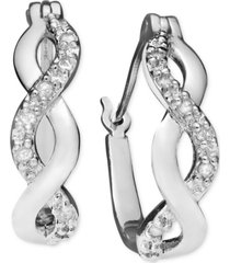 diamond infinity hoop extra small earrings in 18k gold and sterling silver (1/10 ct. t.w.)