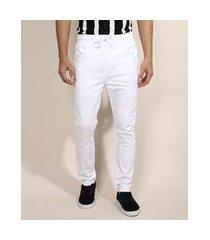 calça de sarja masculina jogger skinny com cordão branca