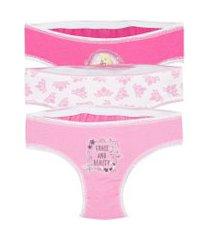 kit de 3 calcinhas princesas rosa