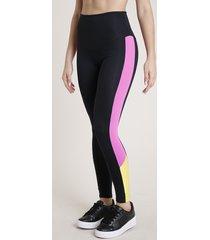 calça legging feminina triya esportiva color block preta