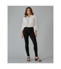 amaro feminino calça legging com botões frente, preto