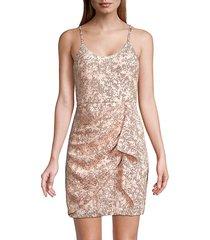 parker black women's darby sequin dress - rose gold - size 16