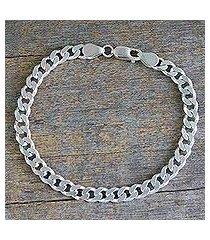 men's sterling silver link bracelet, 'hip hop connection' (india)