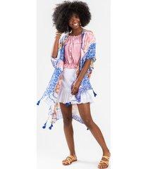 annely scarf print tassel kimono - blue