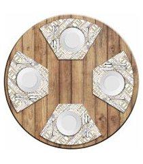 jogo americano love decor  para mesa redonda wevans latte kit com 4 pçs