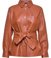 oannaiw shirt jacket leren jack leren jas oranje inwear