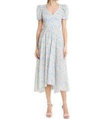 loveshackfancy hutchinson floral midi dress, size 2 in rainbow blast at nordstrom