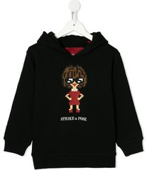 mostly heard rarely seen 8-bit glossy relaxed-fit hoodie - black