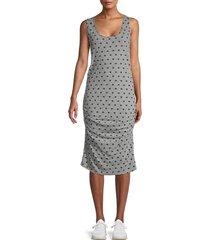 monrow women's star-print tank dress - granite - size m