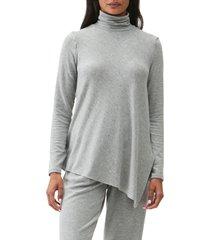 women's michael stars cher turtleneck asymmetrical hem tunic, size large - grey