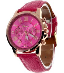 reloj mujer analogo numeros romanos - color rosado