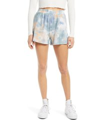 women's all in favor french terry tie dye shorts, size large - blue