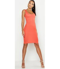 basic bodycon midi jurk met vierkante hals, oranje