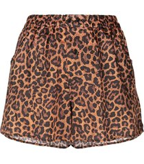 laneus leopard print fitted shorts - neutrals