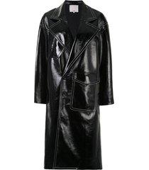 tibi patent cocoon coat - black