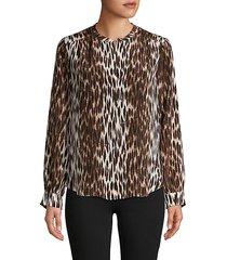 leopard-print long-sleeve silk top