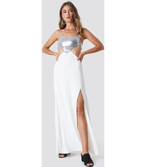 galore x na-kd halterneck cut out maxi dress - white