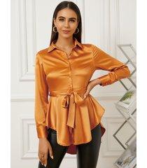 yoins cinturón diseño dobladillo asimétrico classic blusa con cuello