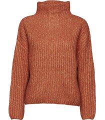 ambra knit t-neck turtleneck polotröja orange second female