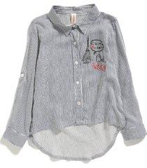 blusa elsa a rayas con estampado y manga larga