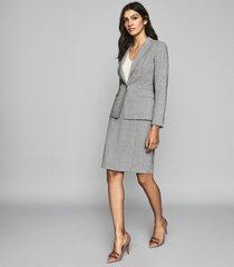 reiss romy skirt - wool blend wrap front pencil skirt in grey, womens, size 12