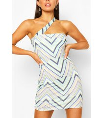 geo print one shoulder mini dress, mint