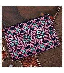 hand woven cotton cosmetics case, 'chiapas brocade' (mexico)