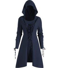 lace up skirted hooded pullover plus size coat