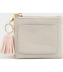 gracie pebbled tassel pouch - gray