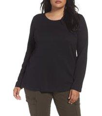 plus size women's caslon long sleeve crewneck tee, size 2x - black