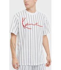 karl kani kk signature pinstripe tee t-shirts & linnen vit/svart