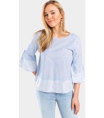 cathleen striped lace trim blouse - light blue