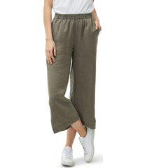 women's michael stars washed linen wide leg pants, size medium - green