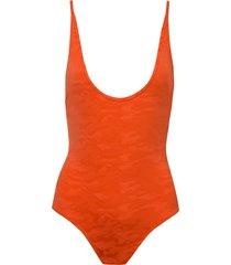 body rosa chá básico army beachwear laranja feminino (flame, gg)