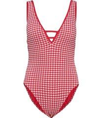 check in deep v malliot baddräkt badkläder röd seafolly