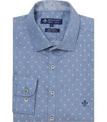 camisa dudalina manga longa fio tinto maquinetada masculina (jeans escuro, 6)