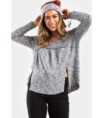 bethany babydoll double slit blouse - heather gray