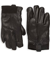 faux fur-lined leather gloves