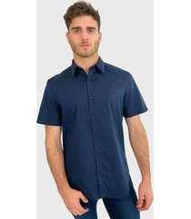 camisa calvin klein mc azul - calce regular